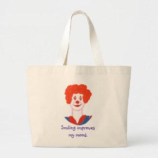 Happy Clown Face, Smiling improves my mood Jumbo Tote Bag