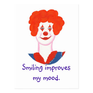 Happy Clown Face, Smiling improves my mood Postcard