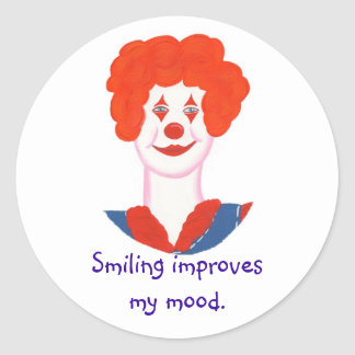 Happy Clown Face, Smiling improves my mood Classic Round Sticker