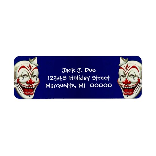 Happy Clown Faces Frame Return address Label