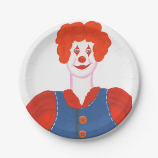 Happy Clown Red Hair Birthday Plates 7 Inch Paper Plate