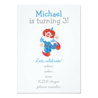 happy clowns with blue one on front 13 cm x 18 cm invitation card