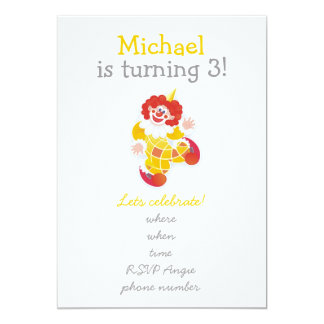"""happy clowns with yellow one on front 5"""" x 7"""" invitation card"""