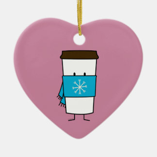 Happy Coffee Cup wearing a scarf Christmas Ornament