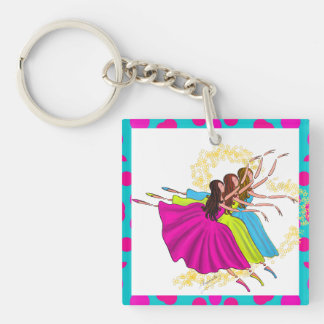 HAPPY COLORFUL BALLERINAS, JUMP DANCING KEY CHAIN