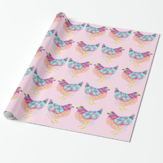 Happy Colorful Chicken Wrapping Paper In Pink
