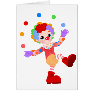 Happy Colorful Clown Boy Juggling Colorful Balls Greeting Card