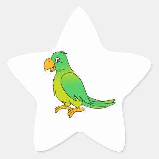 Happy Colorful Green Parrot Bird Star Sticker
