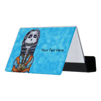 Happy Colorful Lady Day of Dead Skeleton Aqua Blue Desk Business Card Holder