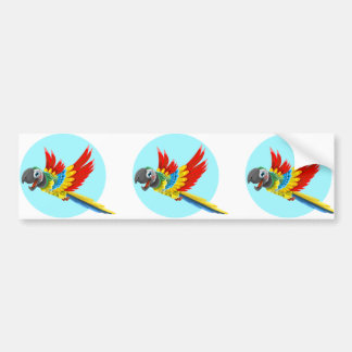 Happy colorful parrot cartoon bumper sticker