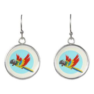Happy colorful parrot cartoon earrings