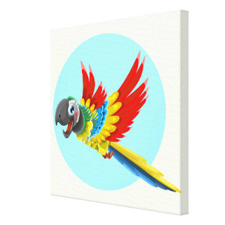 Happy colorful parrot cartoon kids canvas print