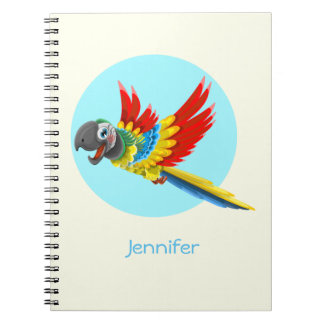 Happy colorful parrot cartoon kids notebooks
