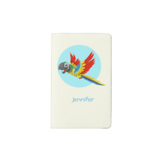 Happy colorful parrot cartoon kids pocket moleskine notebook