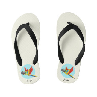 Happy colorful parrot cartoon name flip flops