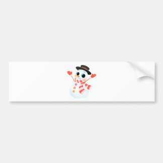 Happy Colorful Snowman Bumper Sticker