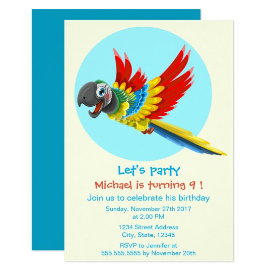 Happy colourful parrot cartoon kids birthday party card