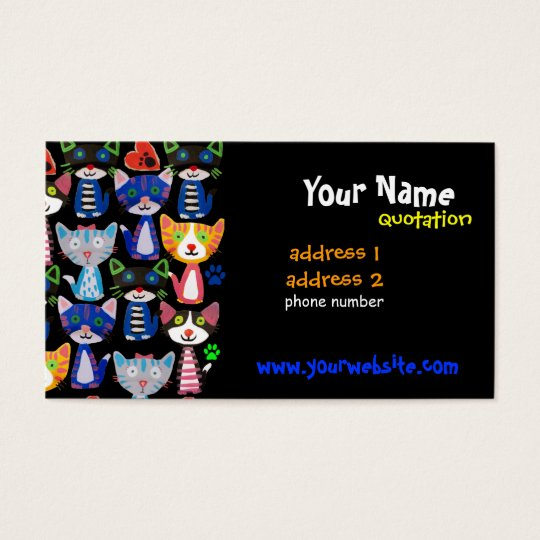 happy colourful pop cats pattern business card