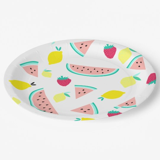 happy colourful summer fruits paper plate