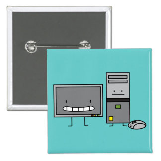Happy Computer IT family 15 Cm Square Badge