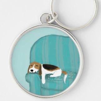 Happy Couch Beagle Silver-Colored Round Key Ring
