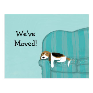 Happy Couch Beagle with Custom Text New Address Postcard