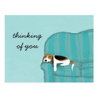 Happy Couch Beagle with Custom Text Postcard