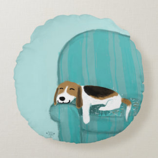 Happy Couch Dog | Cute Beagle Round Cushion