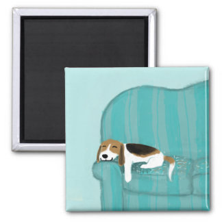 Happy Couch Dog - Cute Beagle Square Magnet