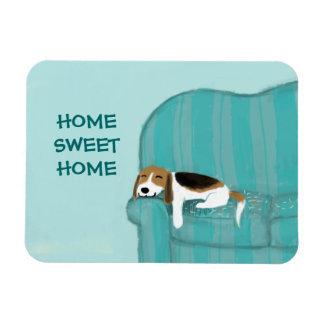 Happy Couch Dog - Home Sweet Home Beagle Rectangular Photo Magnet