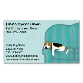 Happy Couch Dog | Pet Sitting | Animal Services Magnetic Business Cards
