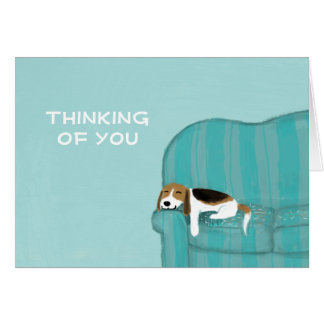 Happy Couch Dog with Customizable Text Note Card