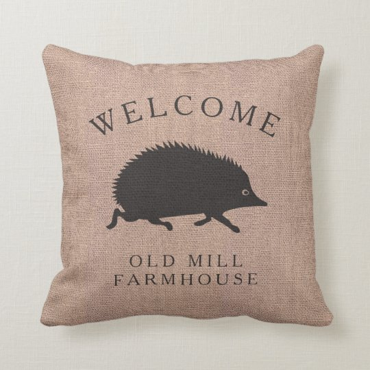 """or custom color pillow cover Custom burlap /""""This is our happy place/"""" BROWN"""