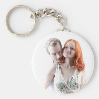 Happy Couple Basic Round Button Key Ring