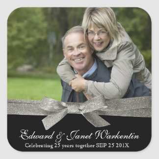 Happy Couple Photo with Silver Glitter Ribbon Square Sticker