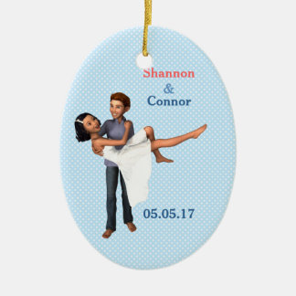 Happy Couple: White Dress and Denim (Personalized) Christmas Tree Ornaments