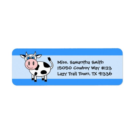 Happy Cow Blue Return Address Labels