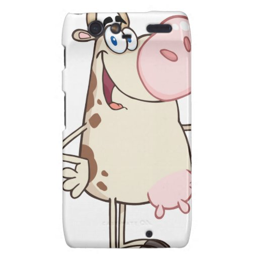 Happy Cow Cartoon Mascot Droid RAZR Covers