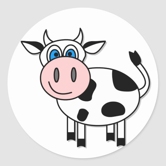 Happy Cow - Customisable! Classic Round Sticker