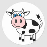 Happy Cow - Customisable! Round Stickers