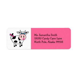 Happy Cow Girl Pink Return Address Label