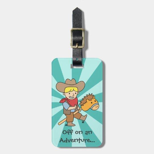 Happy cowboy on an adventure luggage tag
