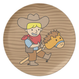 Happy cowboy riding on a horse stick party plates