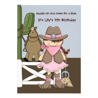 Happy Cowgirl - Birthday Party Invitation