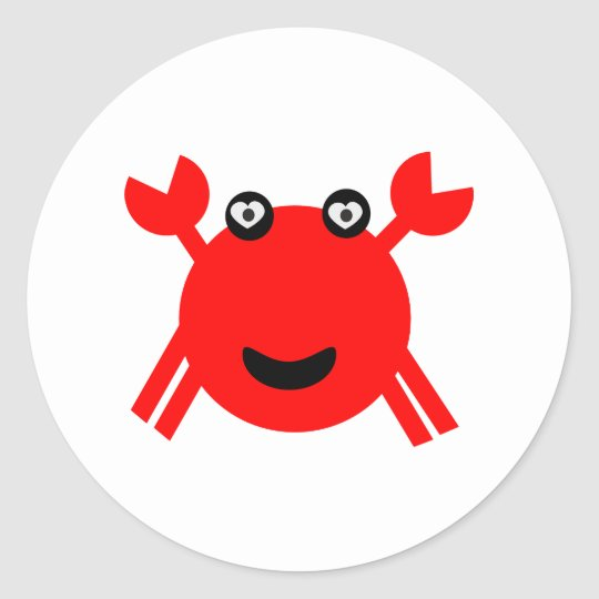Happy crab 18 classic round sticker