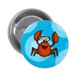 happy crab 6 cm round badge