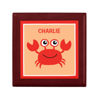 Happy Crab custom monogram jewelry / gift box