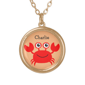 Happy Crab custom monogram necklace