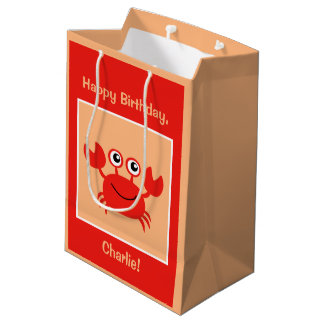 Happy Crab custom text gift bags