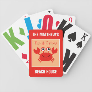 Happy Crab custom text playing cards